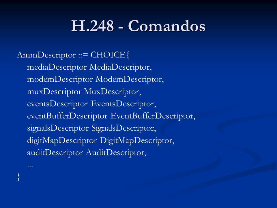 H.248 - Comandos AmmDescriptor ::= CHOICE{ mediaDescriptor MediaDescriptor, modemDescriptor ModemDescriptor, muxDescriptor MuxDescriptor, eventsDescri