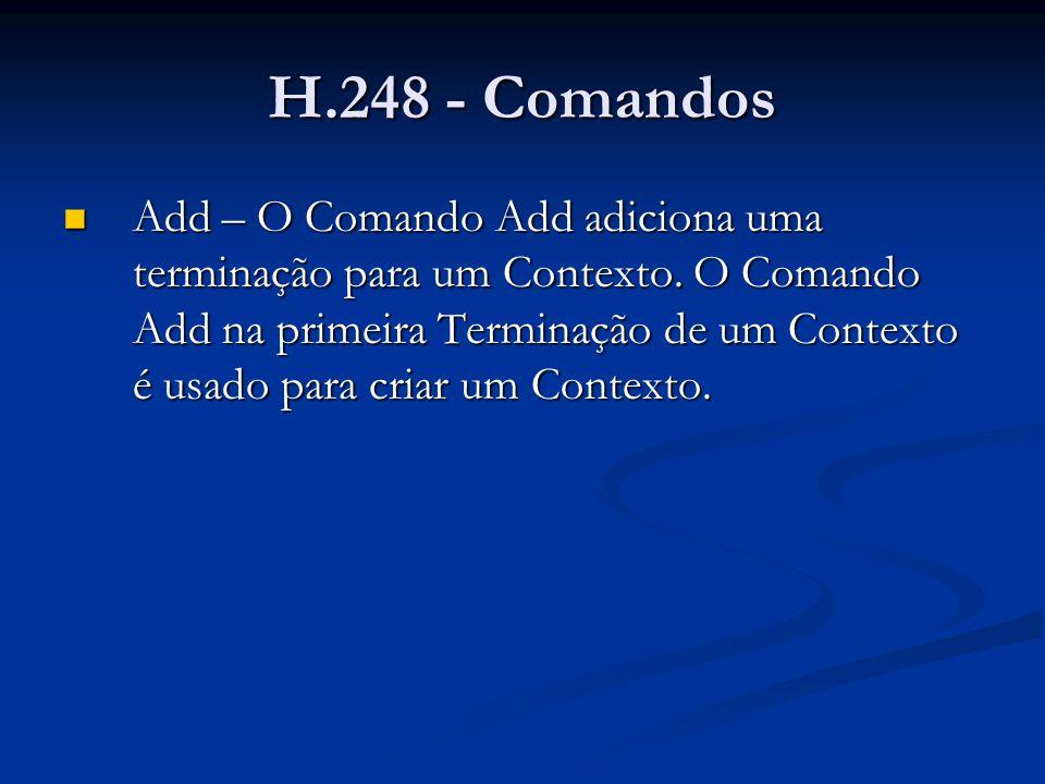 H.248 - Comandos Add – O Comando Add adiciona uma terminação para um Contexto. O Comando Add na primeira Terminação de um Contexto é usado para criar