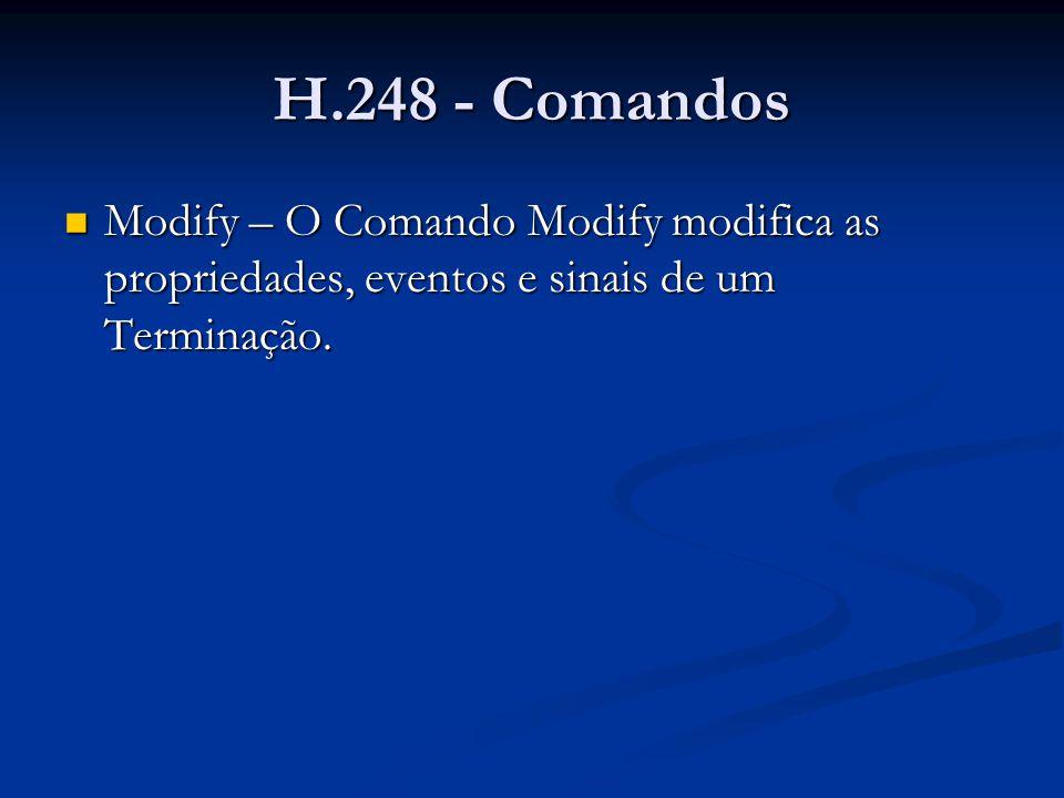 H.248 - Comandos Modify – exemplo Modify – exemplo MEGACO/1 [123.123.123.4]:55555 Transaction = 9999 { Context = - { Modify = A4444 { Media { Stream = 1 { LocalControl { Mode = SendReceive,tdmc/gain=2, ; in dB,tdmc/ec=on }, } }, Events = 2222 {al/of(strict=state)} }