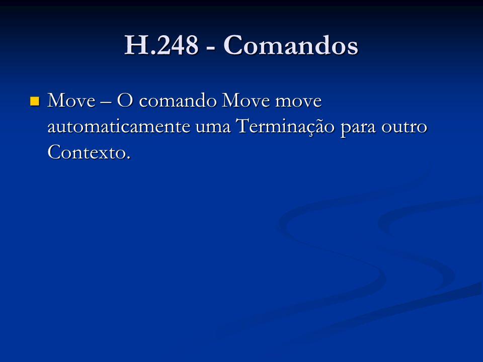 H.248 - Comandos Move – O comando Move move automaticamente uma Terminação para outro Contexto. Move – O comando Move move automaticamente uma Termina