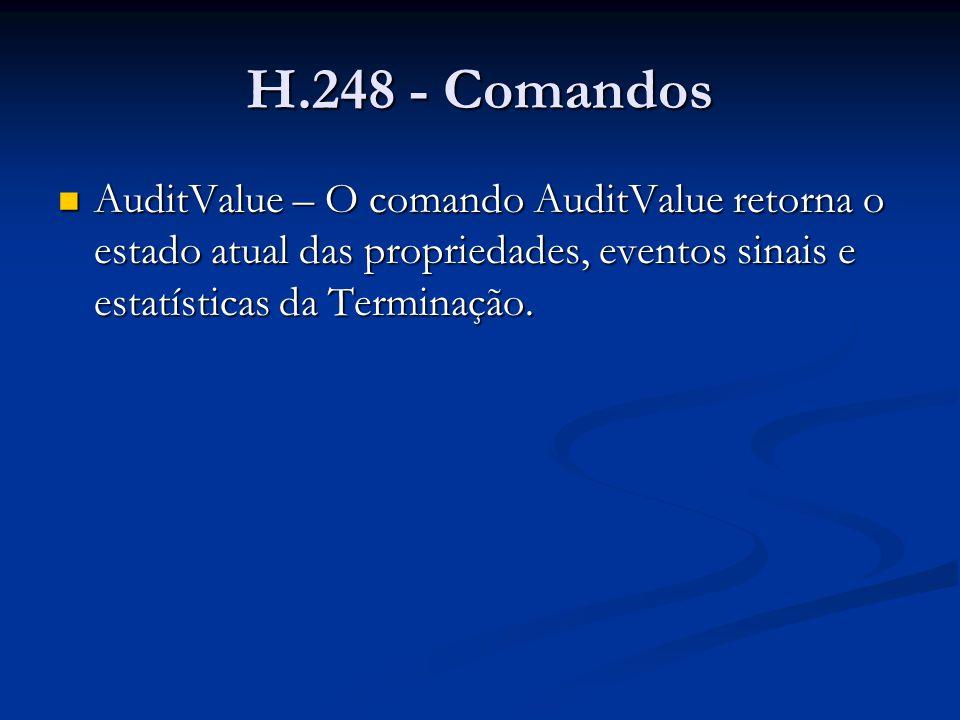 H.248 - Comandos AuditValue – exemplo AuditValue – exemplo MEGACO/1 [123.123.123.4]:55555 Transaction = 50007 { Context = - { AuditValue = A5556{ Audit{ Media, DigitMap, Events, Signals, Packages, Statistics }