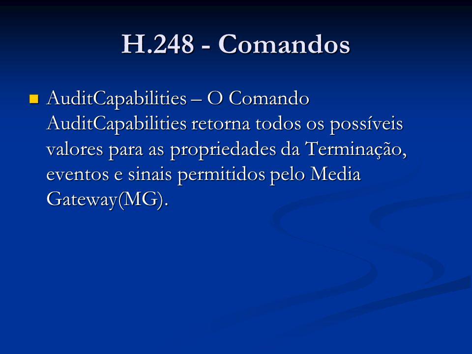 H.248 - Comandos AuditCapabilities – O Comando AuditCapabilities retorna todos os possíveis valores para as propriedades da Terminação, eventos e sina