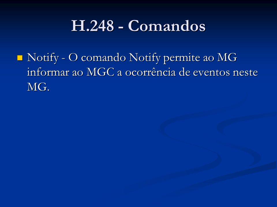 H.248 - Comandos Notify – exemplo Notify – exemplo MEGACO/1 [124.124.124.222]:55555 Transaction= 10000 { Context = - { Notify = A4444 { ObservedEvents =2222 { 19990729T22000000:al/of(init=false) }