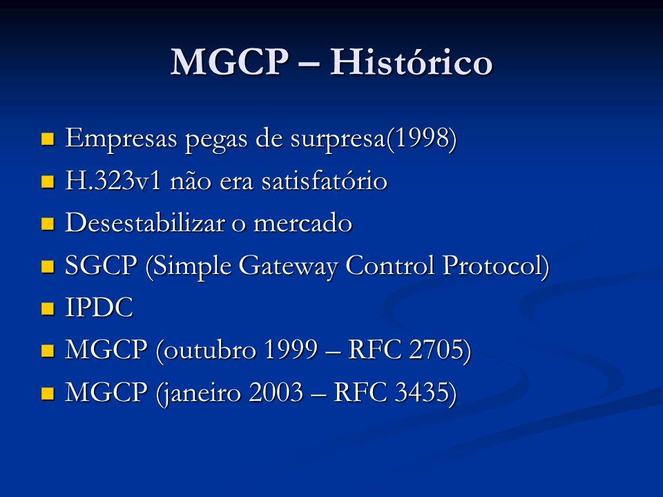 MGCP – Histórico Empresas pegas de surpresa(1998) Empresas pegas de surpresa(1998) H.323v1 não era satisfatório H.323v1 não era satisfatório Desestabi
