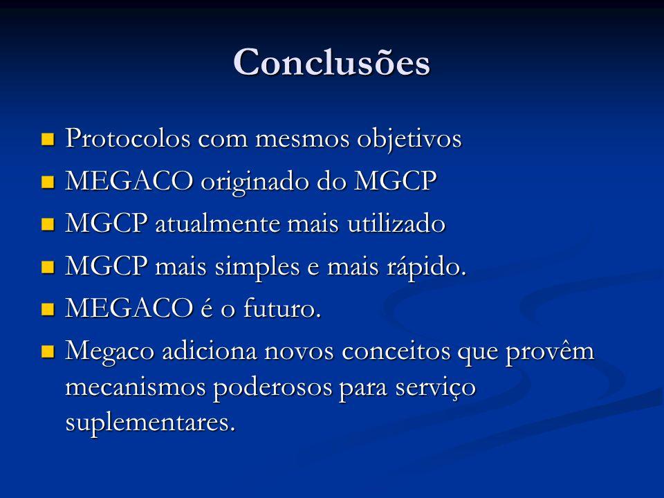 Conclusões Protocolos com mesmos objetivos Protocolos com mesmos objetivos MEGACO originado do MGCP MEGACO originado do MGCP MGCP atualmente mais util