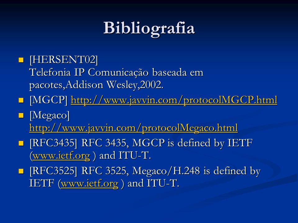 Bibliografia [HERSENT02] Telefonia IP Comunicação baseada em pacotes,Addison Wesley,2002. [HERSENT02] Telefonia IP Comunicação baseada em pacotes,Addi