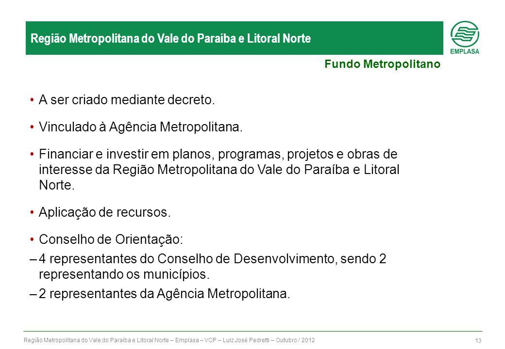 Região Metropolitana do Vale do Paraíba e Litoral Norte – Emplasa – VCP – Luiz José Pedretti – Outubro / 2012 13 Região Metropolitana do Vale do Paraí