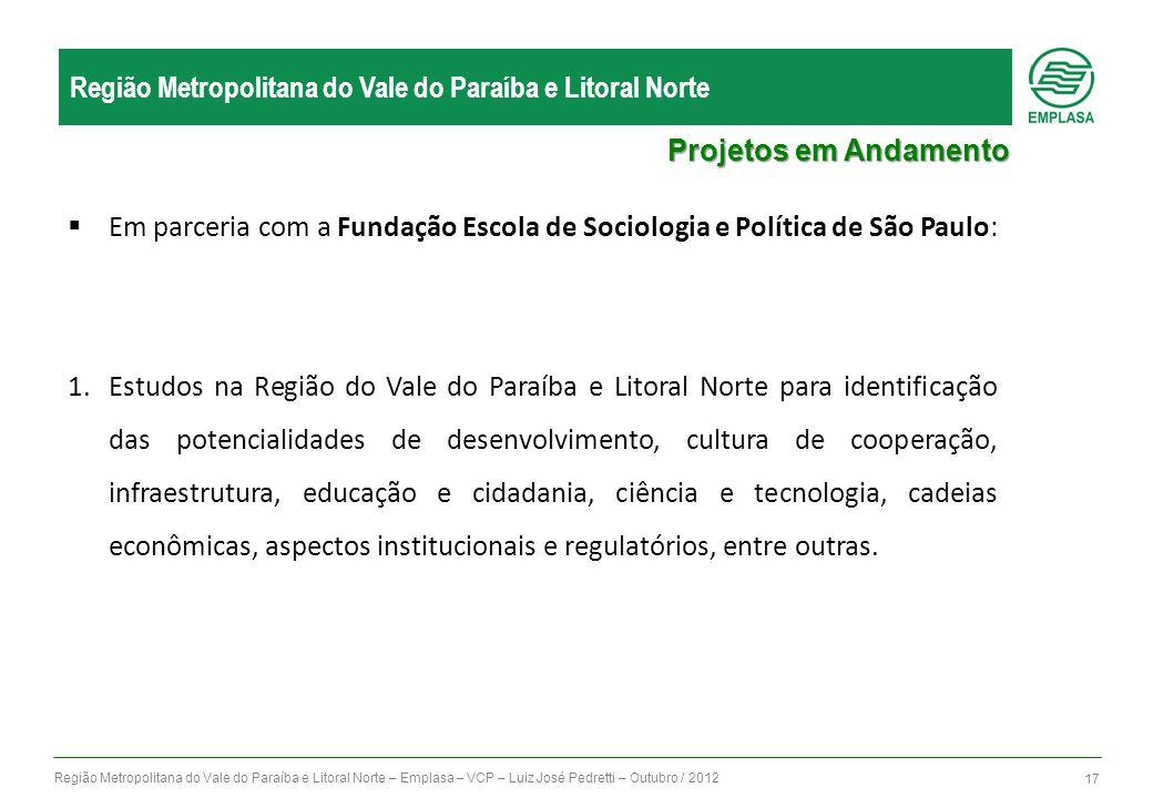 Região Metropolitana do Vale do Paraíba e Litoral Norte – Emplasa – VCP – Luiz José Pedretti – Outubro / 2012 17 Região Metropolitana do Vale do Paraí