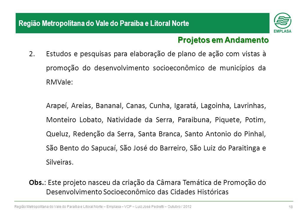 Região Metropolitana do Vale do Paraíba e Litoral Norte – Emplasa – VCP – Luiz José Pedretti – Outubro / 2012 18 Região Metropolitana do Vale do Paraí