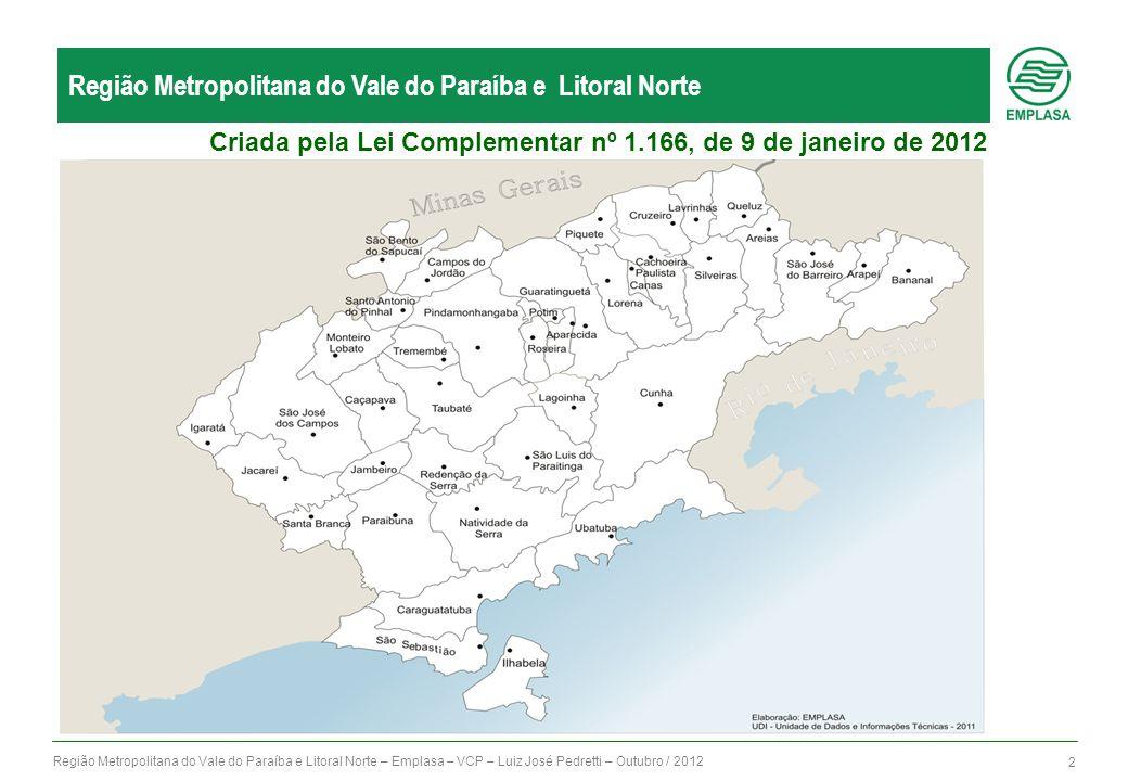 Região Metropolitana do Vale do Paraíba e Litoral Norte – Emplasa – VCP – Luiz José Pedretti – Outubro / 2012 2 Região Metropolitana do Vale do Paraíba e Litoral Norte Criada pela Lei Complementar nº 1.166, de 9 de janeiro de 2012