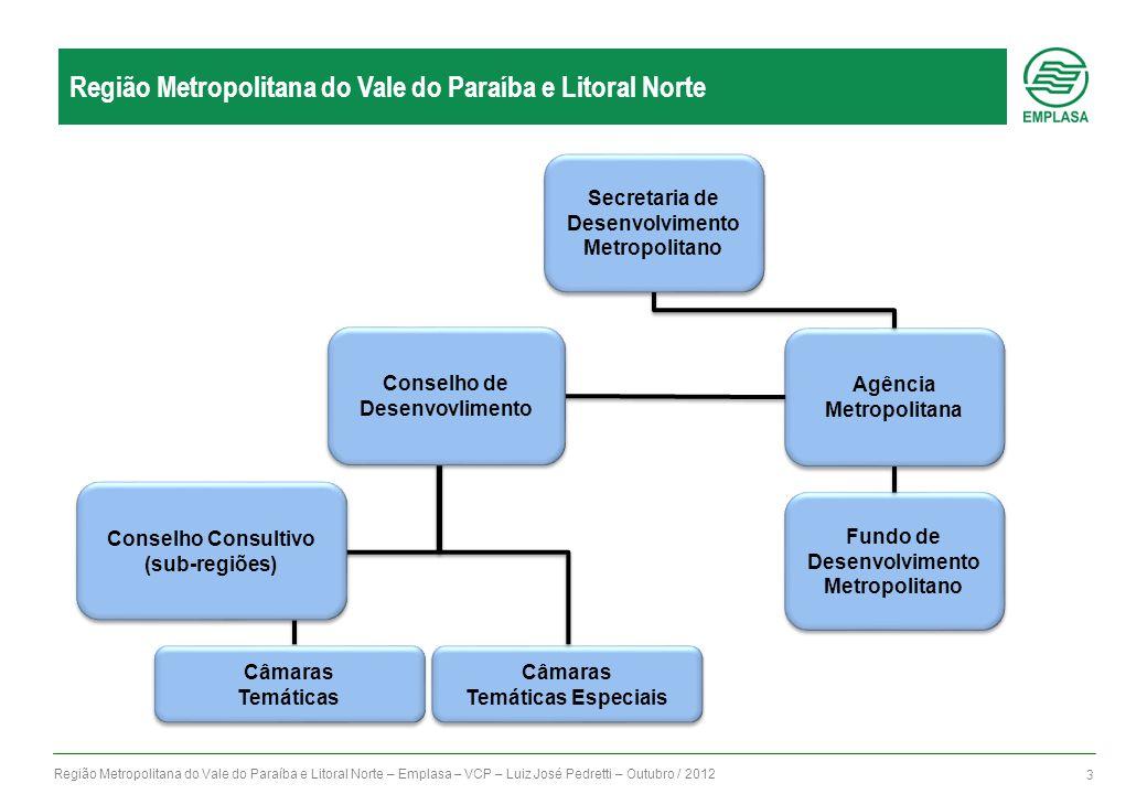 Região Metropolitana do Vale do Paraíba e Litoral Norte – Emplasa – VCP – Luiz José Pedretti – Outubro / 2012 3 Região Metropolitana do Vale do Paraíb