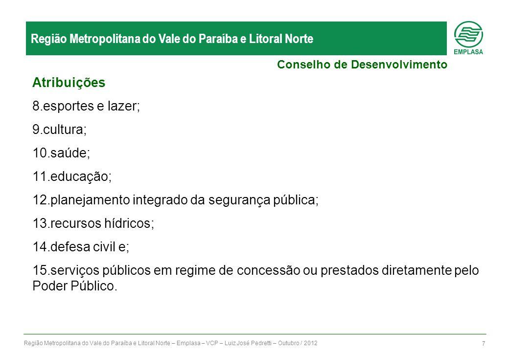 Região Metropolitana do Vale do Paraíba e Litoral Norte – Emplasa – VCP – Luiz José Pedretti – Outubro / 2012 8 Região Metropolitana do Vale do Paraíba e Litoral Norte: Sub-Regiões Conselhos Consultivos