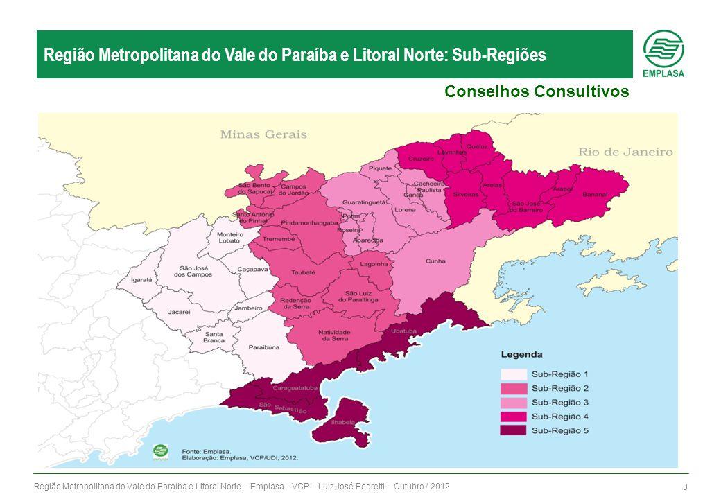 Região Metropolitana do Vale do Paraíba e Litoral Norte – Emplasa – VCP – Luiz José Pedretti – Outubro / 2012 8 Região Metropolitana do Vale do Paraíb