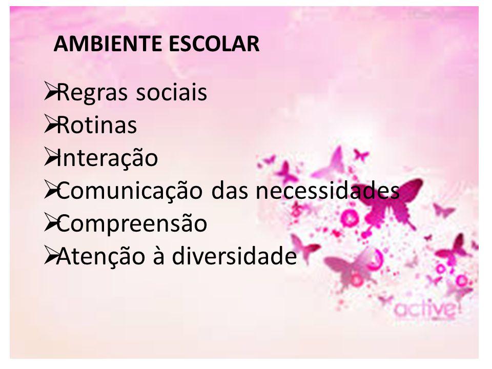 AMBIENTE ESCOLAR  Regras sociais  Rotinas  Interação  Comunicação das necessidades  Compreensão  Atenção à diversidade