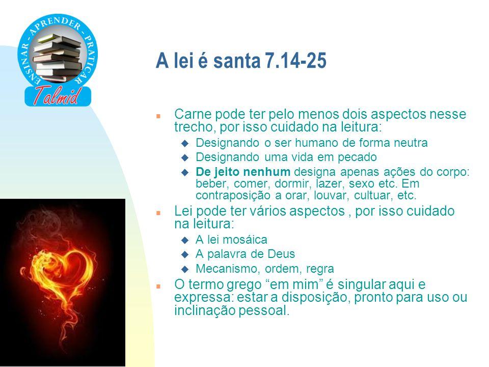 A lei é santa 7.14-25 n Carne pode ter pelo menos dois aspectos nesse trecho, por isso cuidado na leitura: u Designando o ser humano de forma neutra u