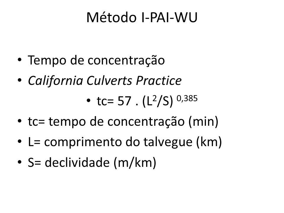 Método I-PAI-WU Tempo de concentração California Culverts Practice tc= 57. (L 2 /S) 0,385 tc= tempo de concentração (min) L= comprimento do talvegue (