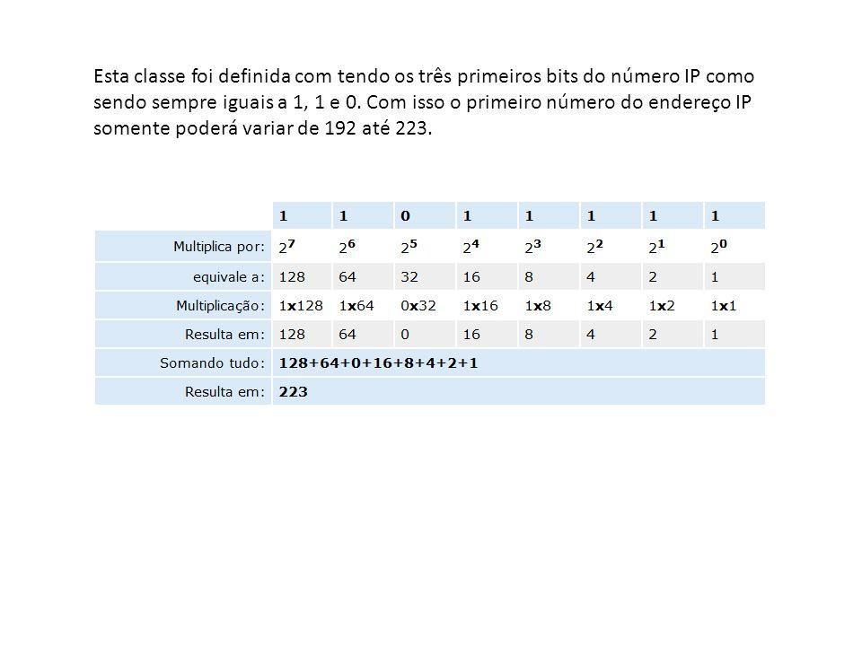 Esta classe foi definida com tendo os três primeiros bits do número IP como sendo sempre iguais a 1, 1 e 0.
