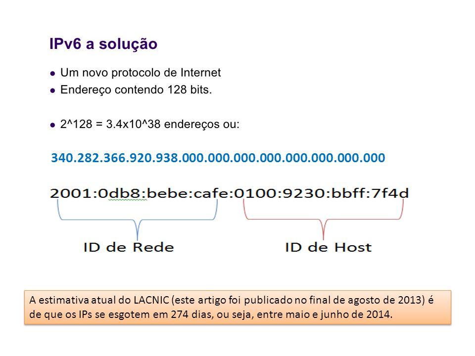 340.282.366.920.938.000.000.000.000.000.000.000.000 A estimativa atual do LACNIC (este artigo foi publicado no final de agosto de 2013) é de que os IPs se esgotem em 274 dias, ou seja, entre maio e junho de 2014.