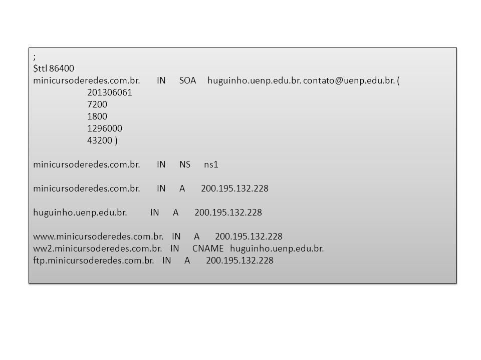 ; $ttl 86400 minicursoderedes.com.br. IN SOA huguinho.uenp.edu.br.