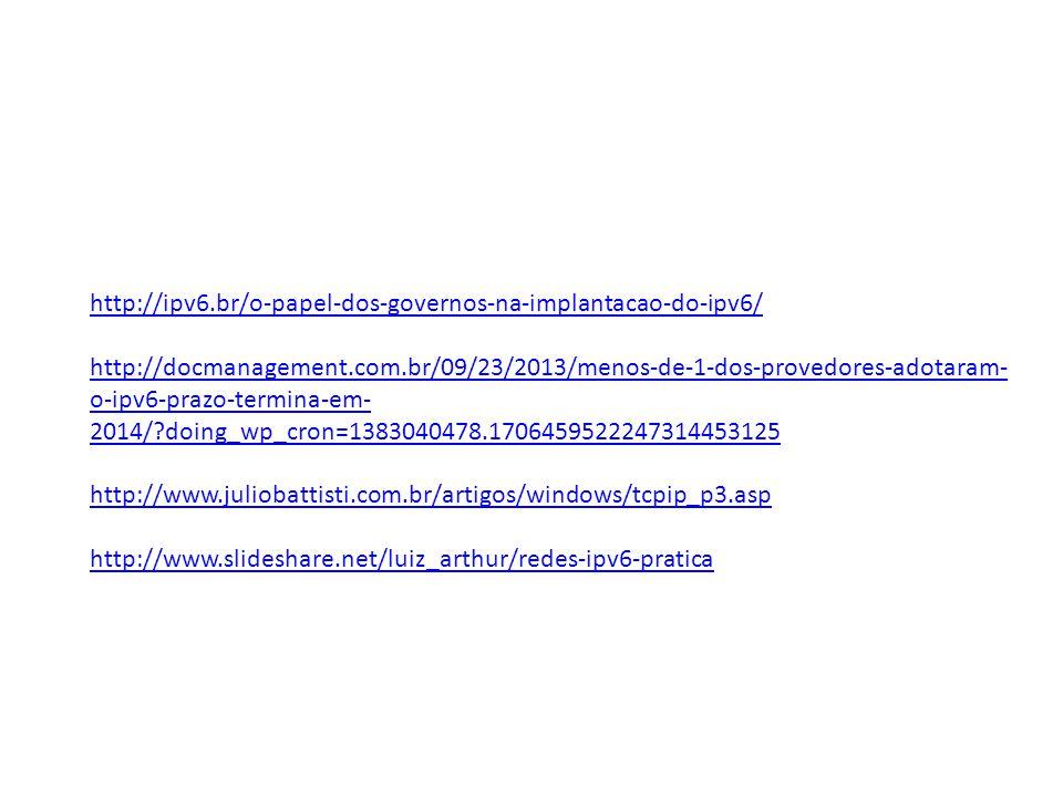 http://ipv6.br/o-papel-dos-governos-na-implantacao-do-ipv6/ http://docmanagement.com.br/09/23/2013/menos-de-1-dos-provedores-adotaram- o-ipv6-prazo-termina-em- 2014/ doing_wp_cron=1383040478.1706459522247314453125 http://www.juliobattisti.com.br/artigos/windows/tcpip_p3.asp http://www.slideshare.net/luiz_arthur/redes-ipv6-pratica