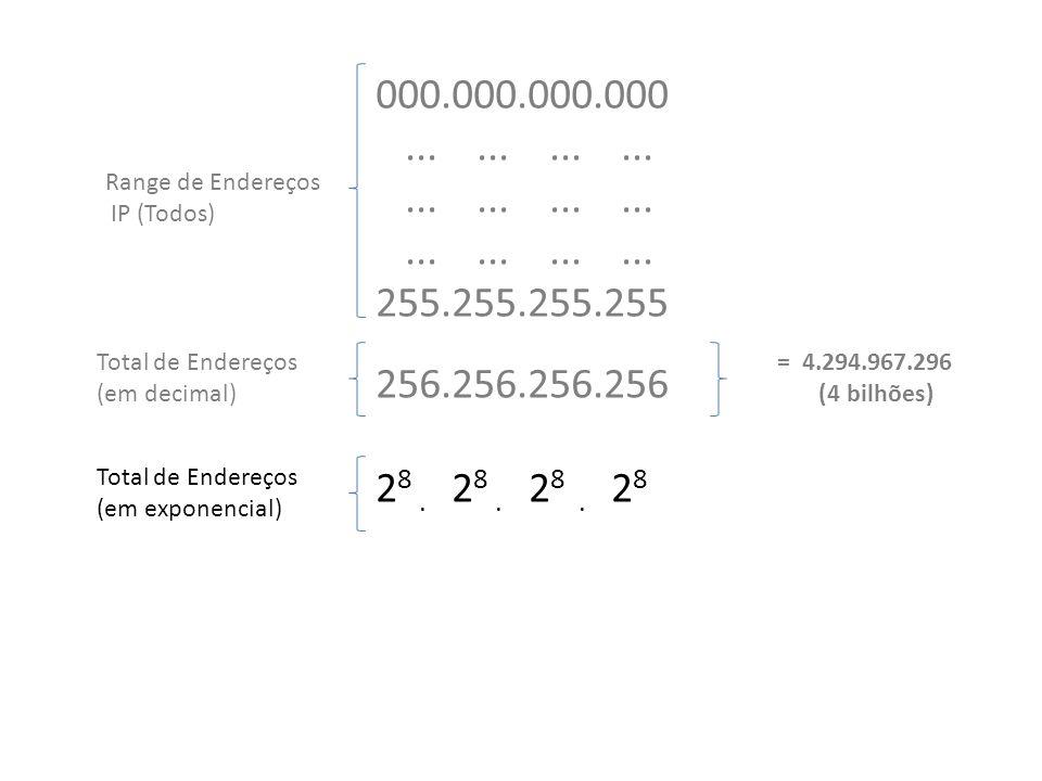 2 8.2 8. 2 8. 2 8 Total de Endereços (em exponencial) 2 8.