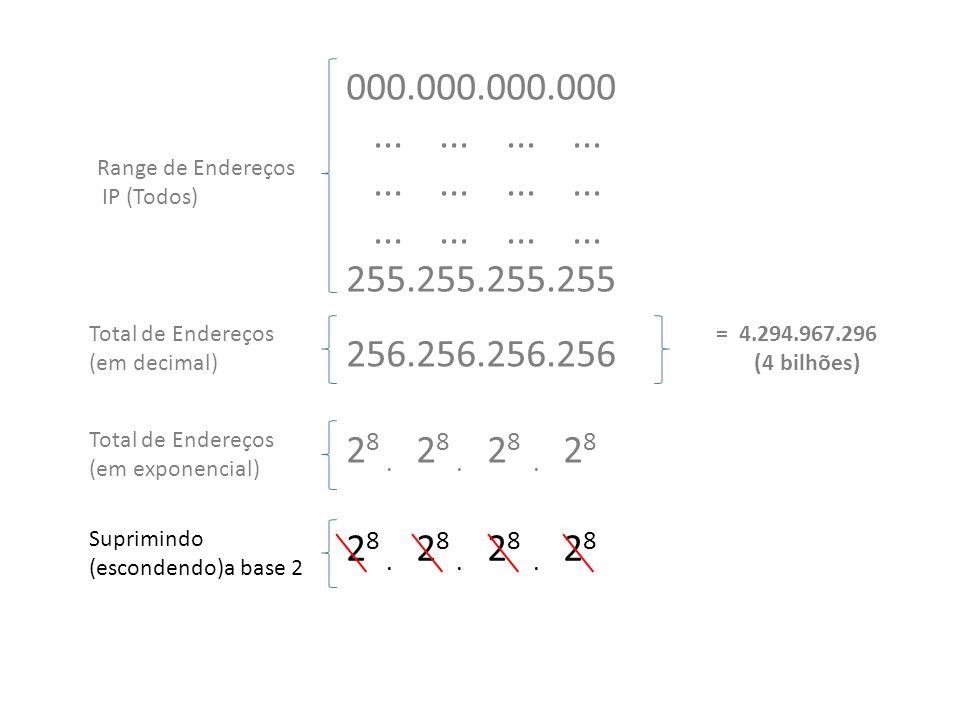 2 8. 2 8. 2 8. 2 8 Total de Endereços (em exponencial) 2 8.