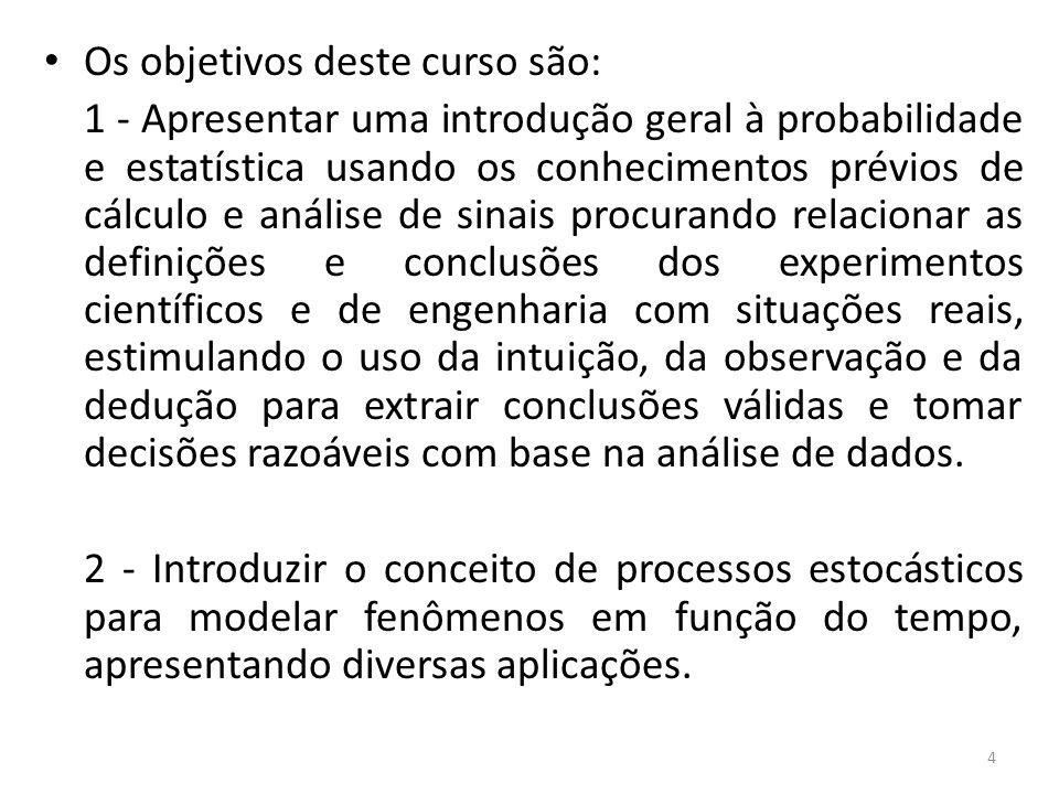 Probabilidade universo do estudo (população) Hipóteses, conjeturas,...