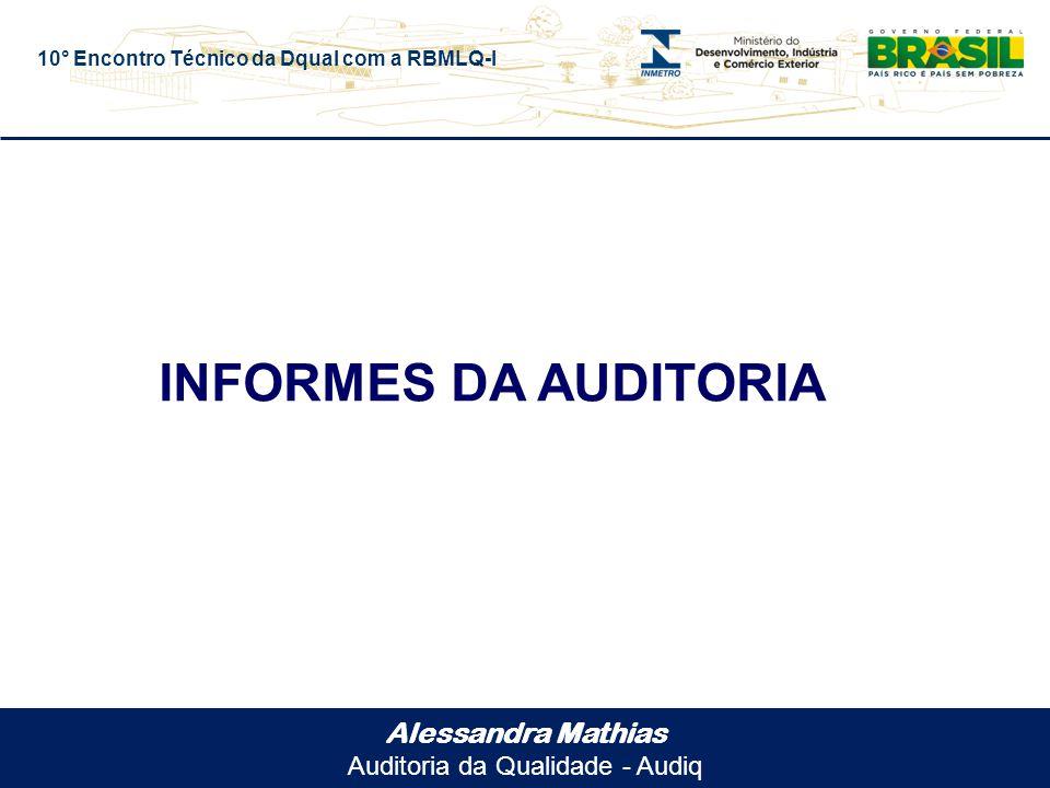 10° Encontro Técnico da Dqual com a RBMLQ-I Alessandra Mathias Auditoria da Qualidade - Audiq INFORMES DA AUDITORIA