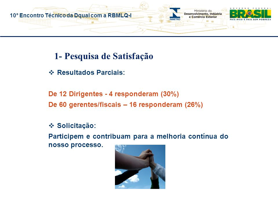 10° Encontro Técnico da Dqual com a RBMLQ-I 1- Pesquisa de Satisfação  Resultados Parciais: De 12 Dirigentes - 4 responderam (30%) De 60 gerentes/fiscais – 16 responderam (26%)  Solicitação: Participem e contribuam para a melhoria contínua do nosso processo.