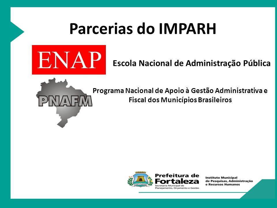 Programa Nacional de Apoio à Gestão Administrativa e Fiscal dos Municípios Brasileiros Parcerias do IMPARH Escola de Gestão Pública do Estado do Ceará Escola Nacional de Administração Pública