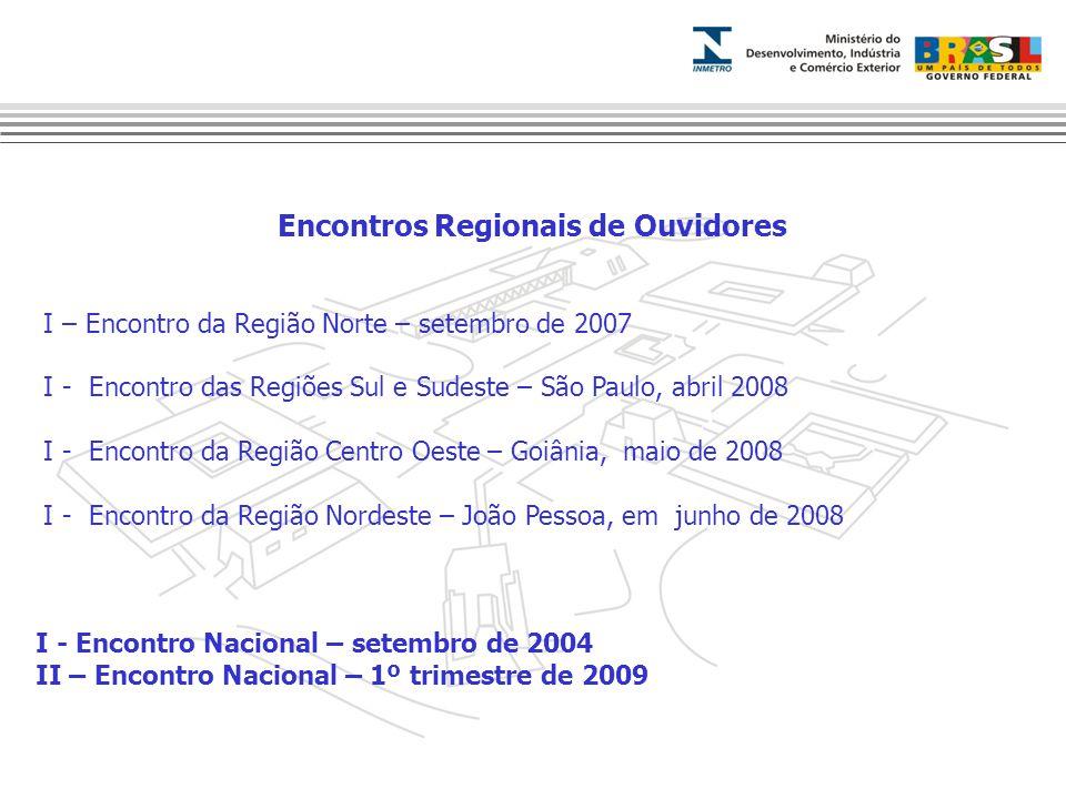 Encontros Regionais de Ouvidores I – Encontro da Região Norte – setembro de 2007 I - Encontro das Regiões Sul e Sudeste – São Paulo, abril 2008 I - En