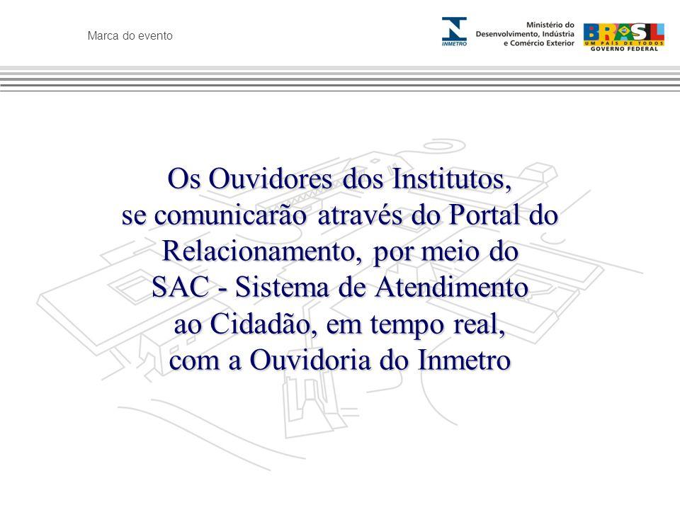 Marca do evento Os Ouvidores dos Institutos, se comunicarão através do Portal do Relacionamento, por meio do SAC - Sistema de Atendimento ao Cidadão,