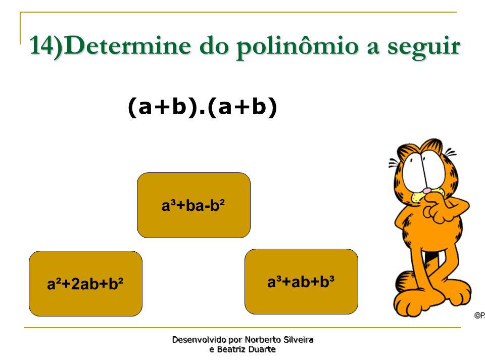 14)Determine do polinômio a seguir a³+ba-b² a³+ab+b³ a²+2ab+b² Desenvolvido por Norberto Silveira e Beatriz Duarte (a+b).(a+b)