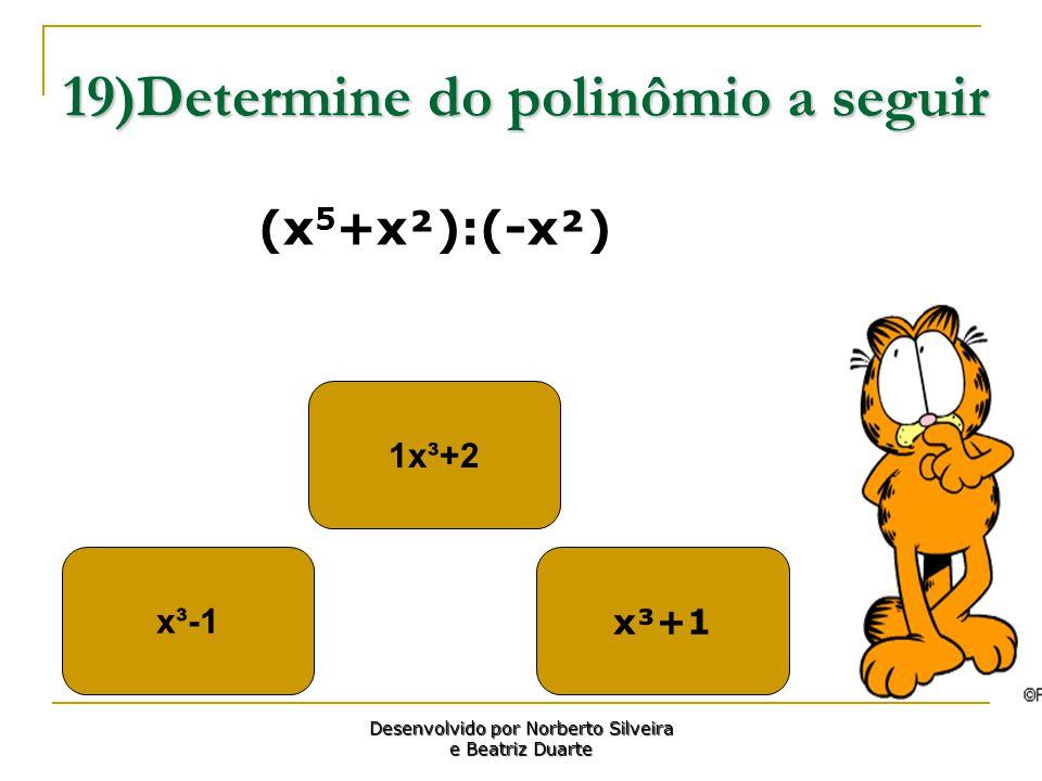 19)Determine do polinômio a seguir x³-1 1x³+2 x³+1 Desenvolvido por Norberto Silveira e Beatriz Duarte (x 5 +x²):(-x²)
