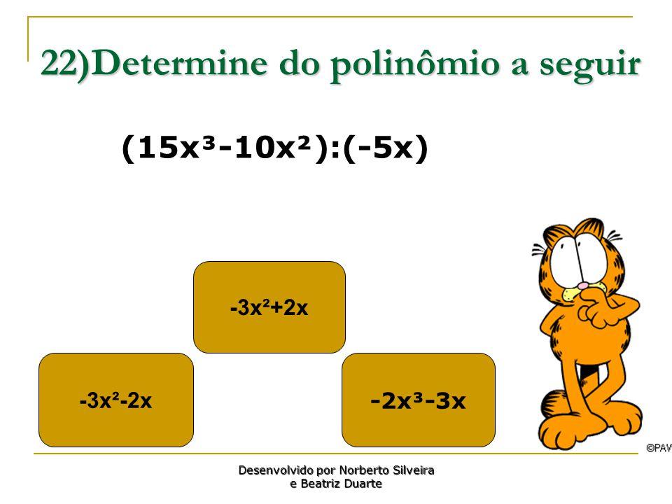 22)Determine do polinômio a seguir -3x²-2x -3x²+2x -2x³-3x Desenvolvido por Norberto Silveira e Beatriz Duarte (15x³-10x²):(-5x)