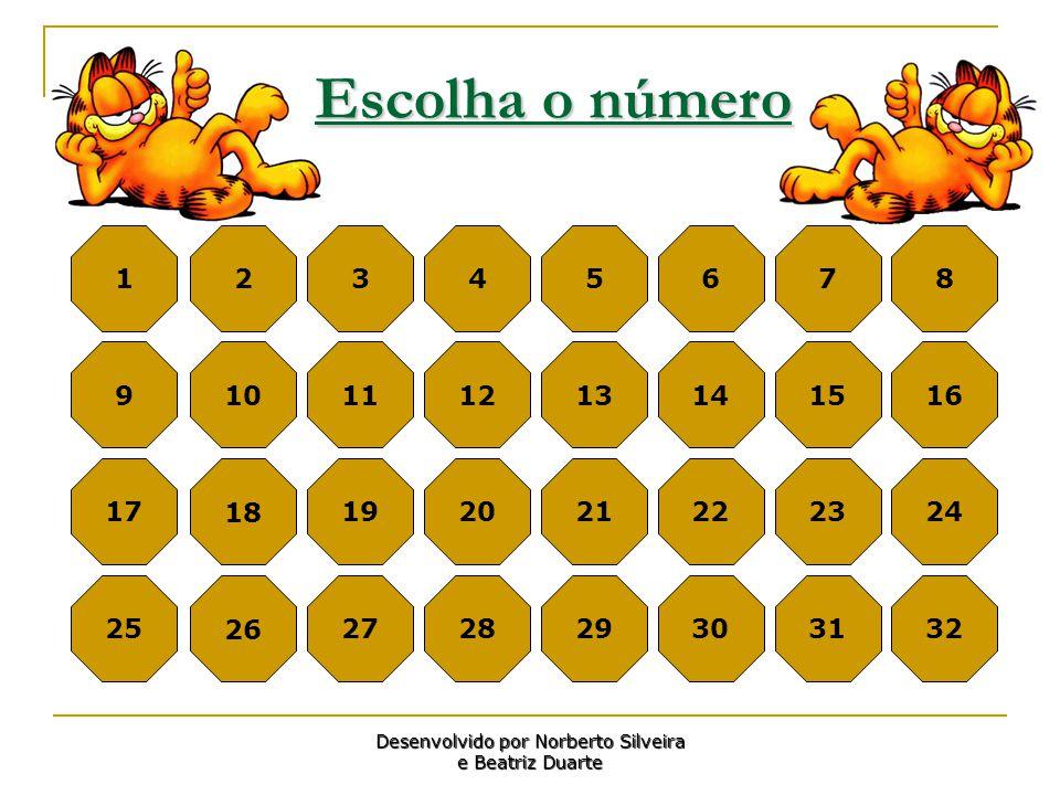 Escolha o número 1 2 345678 9 10 111213141516 17 18 192021222324 25 26 272829303132 Desenvolvido por Norberto Silveira e Beatriz Duarte