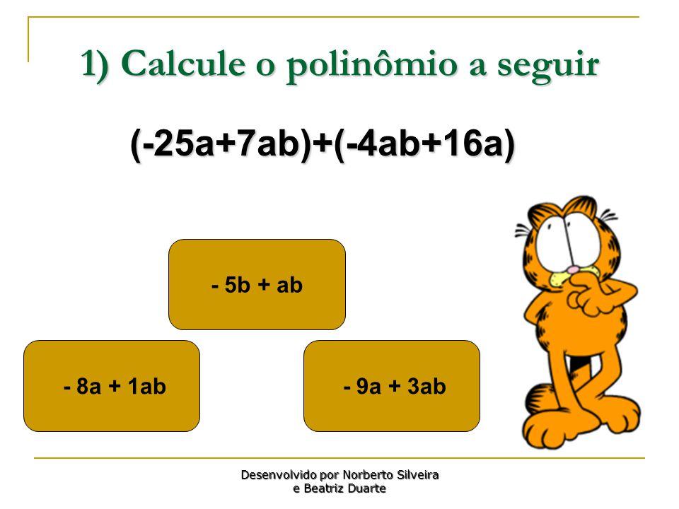 1) Calcule o polinômio a seguir - 9a + 3ab - 5b + ab - 8a + 1ab Desenvolvido por Norberto Silveira e Beatriz Duarte (-25a+7ab)+(-4ab+16a)
