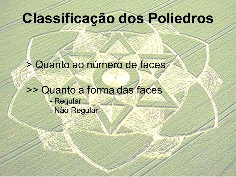 Classificação dos Poliedros > Quanto ao número de faces >> Quanto a forma das faces - Regular - Não Regular