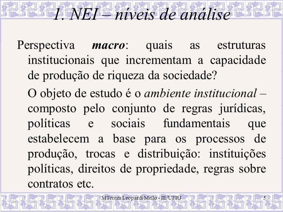 MTereza Leopardi Mello - IE/UFRJ6 2.Conceitos fundamentais Instituições (cf.