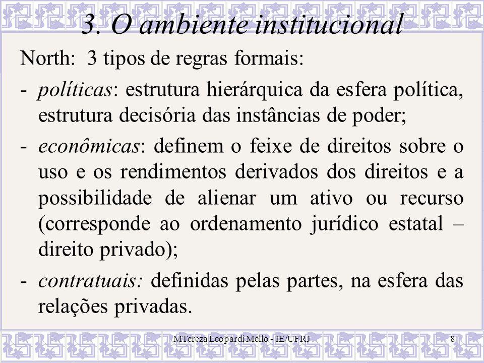 MTereza Leopardi Mello - IE/UFRJ19 Análise institucional comparativa Atributos de um arranjo institucional: intensidade de incentivos, controles administrativos, capacidade de adaptação e regime jurídico.