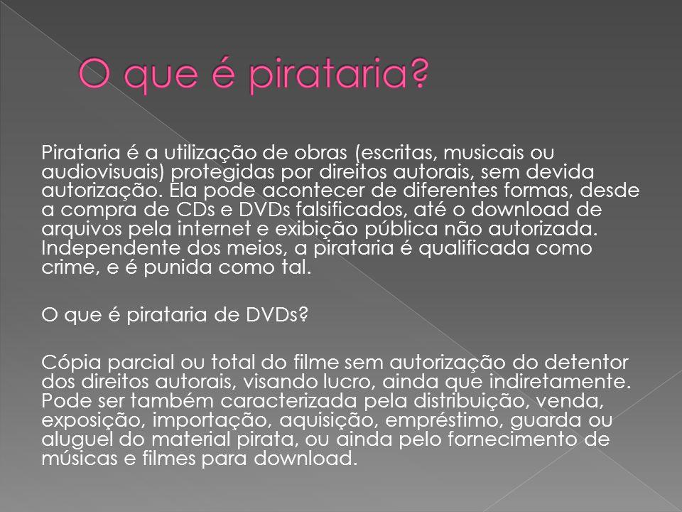 Pirataria é a utilização de obras (escritas, musicais ou audiovisuais) protegidas por direitos autorais, sem devida autorização.