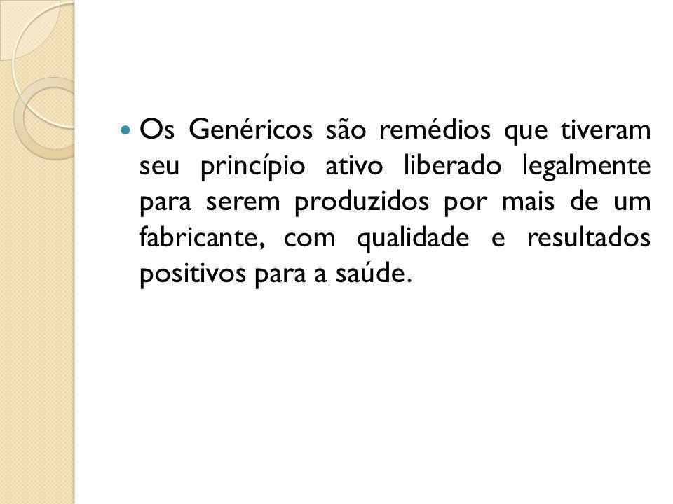 Os Genéricos são remédios que tiveram seu princípio ativo liberado legalmente para serem produzidos por mais de um fabricante, com qualidade e resulta