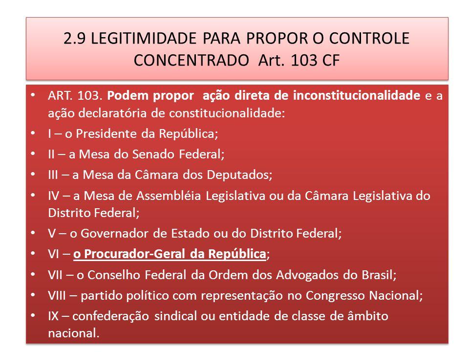 2.9 LEGITIMIDADE PARA PROPOR O CONTROLE CONCENTRADO Art.