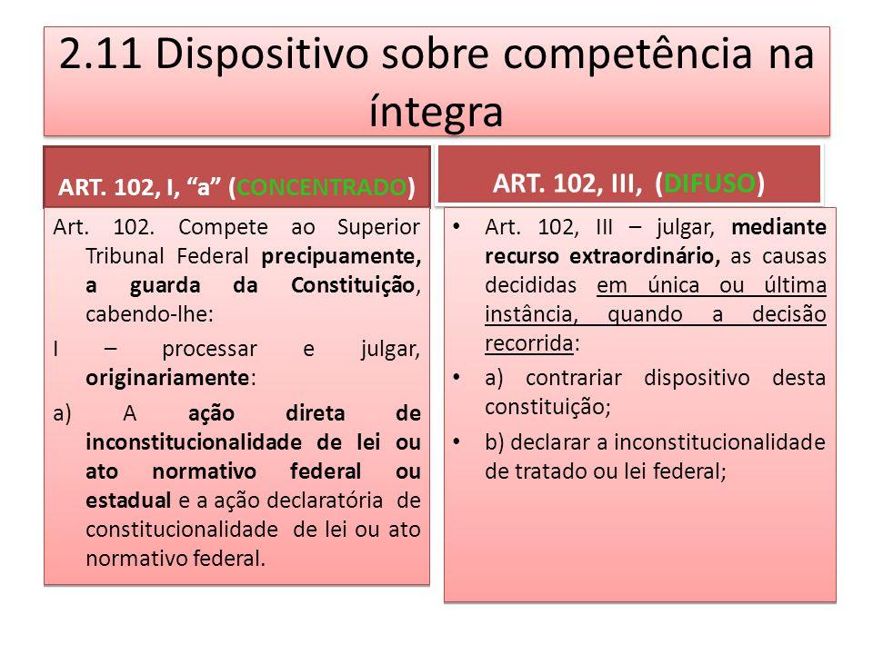 2.11 Dispositivo sobre competência na íntegra ART.