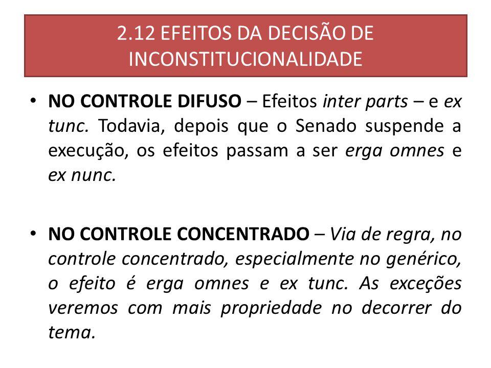 2.12 EFEITOS DA DECISÃO DE INCONSTITUCIONALIDADE NO CONTROLE DIFUSO – Efeitos inter parts – e ex tunc.