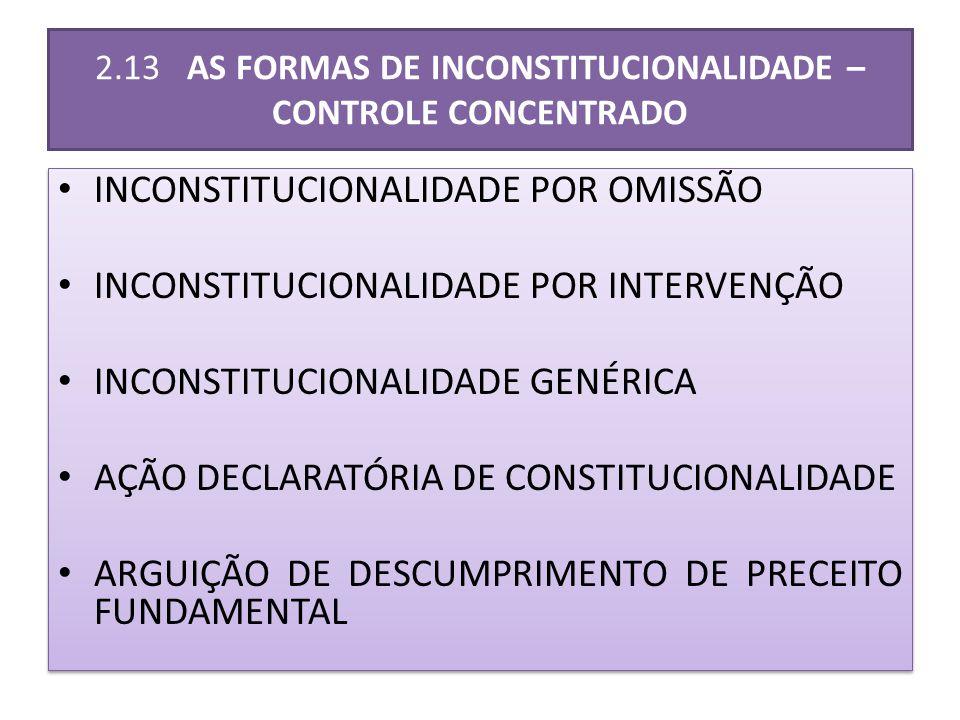 2.13 AS FORMAS DE INCONSTITUCIONALIDADE – CONTROLE CONCENTRADO INCONSTITUCIONALIDADE POR OMISSÃO INCONSTITUCIONALIDADE POR INTERVENÇÃO INCONSTITUCIONALIDADE GENÉRICA AÇÃO DECLARATÓRIA DE CONSTITUCIONALIDADE ARGUIÇÃO DE DESCUMPRIMENTO DE PRECEITO FUNDAMENTAL INCONSTITUCIONALIDADE POR OMISSÃO INCONSTITUCIONALIDADE POR INTERVENÇÃO INCONSTITUCIONALIDADE GENÉRICA AÇÃO DECLARATÓRIA DE CONSTITUCIONALIDADE ARGUIÇÃO DE DESCUMPRIMENTO DE PRECEITO FUNDAMENTAL