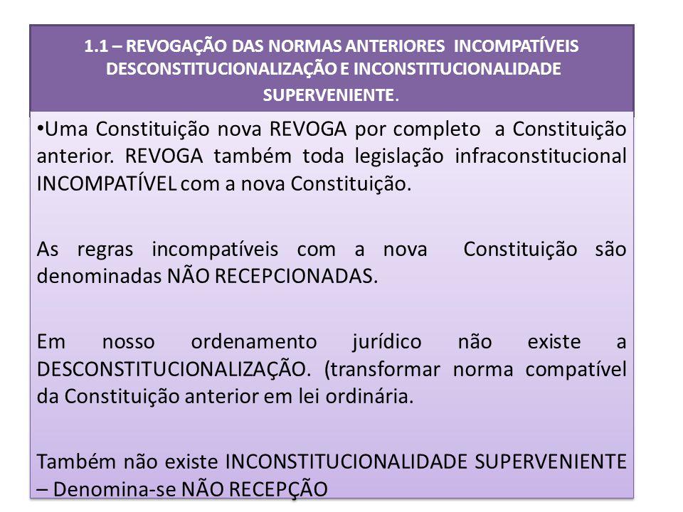 1.1 – REVOGAÇÃO DAS NORMAS ANTERIORES INCOMPATÍVEIS DESCONSTITUCIONALIZAÇÃO E INCONSTITUCIONALIDADE SUPERVENIENTE.
