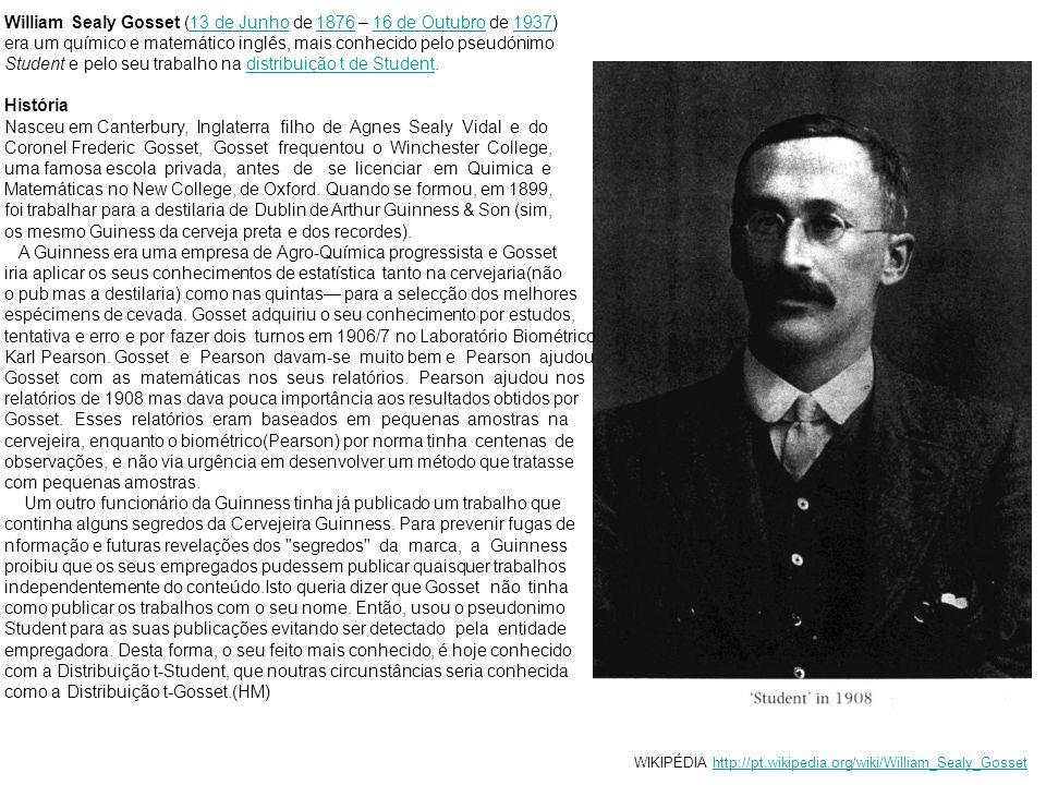 William Sealy Gosset (13 de Junho de 1876 – 16 de Outubro de 1937)13 de Junho187616 de Outubro1937 era um químico e matemático inglês, mais conhecido