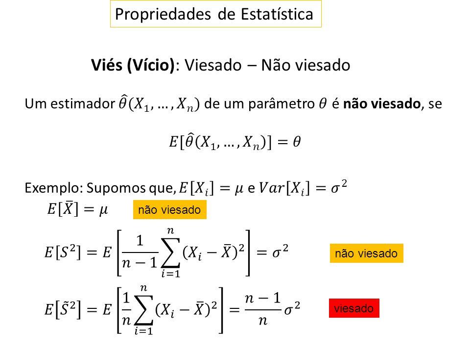 Propriedades de Estatística Viés (Vício): Viesado – Não viesado não viesado viesado