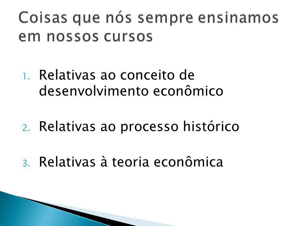 1. Relativas ao conceito de desenvolvimento econômico 2.
